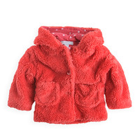 Pumpkin Patch - jackets - fluffy jacket - W2BG40015X - spiced coral - newborn to 12-18mths