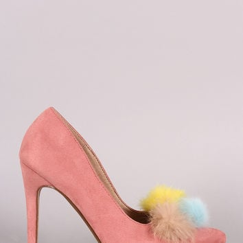 Multi Colored Pom Pom Suede Pointed Toe Heels