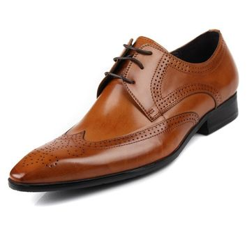 Handmade Cowhide Leather Mens Dress Shoes Genuine Leather Business Wingtip Shoes Fashion Wedding Oxfords Shoes Size 38-44