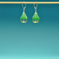 Luminescent German Pressed Glass Pear Elegant and Simple Drop Earrings