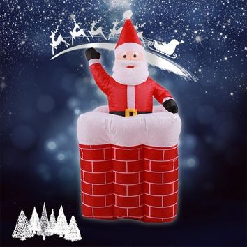 Outdoor Airblown Christmas Inflatables Animated Santa Rises From Chimney Up And Down