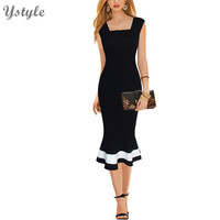 Women's Sexy Plus Size XXXL Midi Dress 2016 Summer Ladies Sleeveless Bodycon Vestidos Wear To Work Black Mermaid Dresses Dr176
