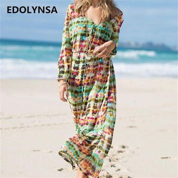 DKLW8 New Arrivals Beach Cover up Floral Vintage Swimwear Ladies Kaftan Beach Tunic Robe De Plage Long Bathing Suit Cover ups #Q141