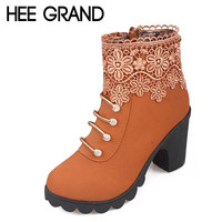 HEE GRAND 2016 Women Boots Fashion PU Leather Round Toe Ankle Boots Sexy Lace Ladies High Heels Platform Shoes Woman XWX2967
