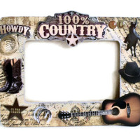 Wooden Picture Frame - Cowboy Country Style Embellishments (Brown / Gold / Taupe / Black) Men Man Guys