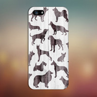Dog Breed Silhouette x White Wood Design Case for iPhone 6 6 Plus iPhone 5 5s 5c iPhone 4 4s Samsung Galaxy s6 s5 s4 & s3 and Note 4 3 2