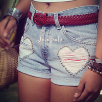 Heart studded shorts,Levis shorts,High waisted studded shorts,denim shorts by Jeansonly