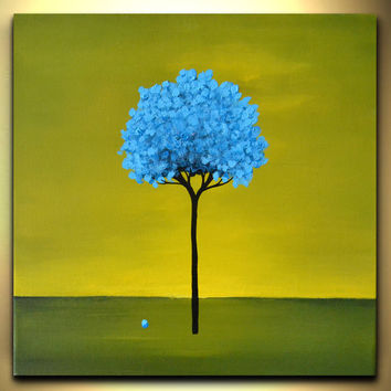 Blue tree children canvas art cool abstract wall decor green yellow landscape fun kids bedroom artwork acrylic painting by Zara M