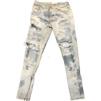 Hand Distressed and hand  Bleached Indigo Denim w/ Ankle Zippers