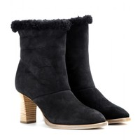 chloé - shearling-lined suede ankle boots
