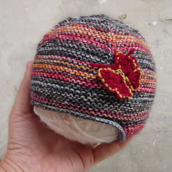 Earflap hat with butterfly, striped wool newborn baby hat, hat for children, black red orange tweed, choose your size
