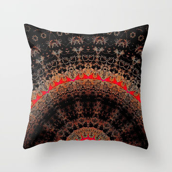 Rich Brown Bronze and Red Half Mandala Throw Pillow by Sheila Wenzel