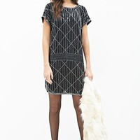 Contemporary Beaded Drop Waist Dress