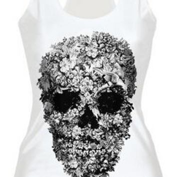 2016 Summer Tops Skull Skeleton Pattern 3d Printed White Black  Tank Top Women Casual Vest Harajuku Fitness Blouse T Shirt