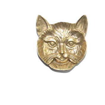 Vintage Brass Cat Dish Gold Cat Dish Cat Ring Dish Cat Trinket Dish Gold Cat Dish Ring Holder