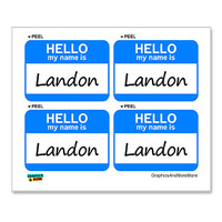 Landon Hello My Name Is - Sheet of 4 Stickers