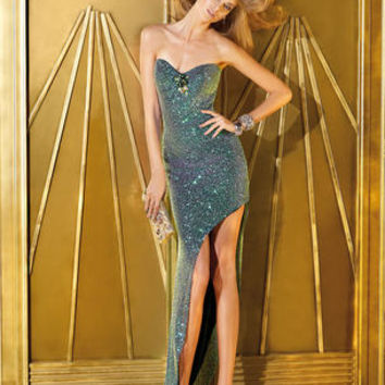 Fully sequined gown with an asymmetrical high-low cut skirt and lace up back. Available in Mermaid and Purple/Black. #girligirlboutique