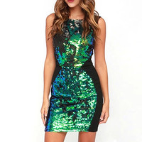 Black Sequined Bodycon Mini Dress