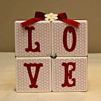 LOVE Wood Decor,Valentines Gift, LOVE Blocks,Valentines Decor