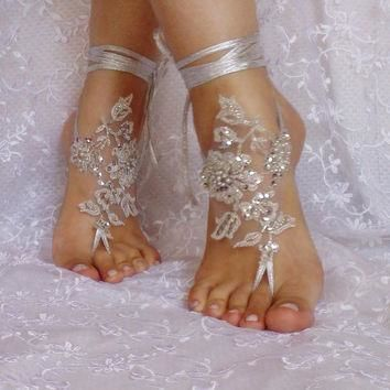 unique. silver sandals. silver unique Wedding sandals, lace sandals, hand sewing sanda