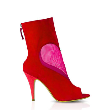 Red Fuchsia Mesh Heart Ankle Boot by DEEVA