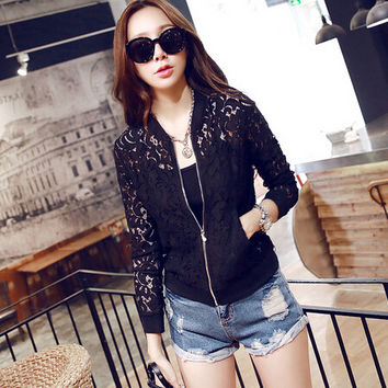Long Sleeve Hollow Out Slim Outwear