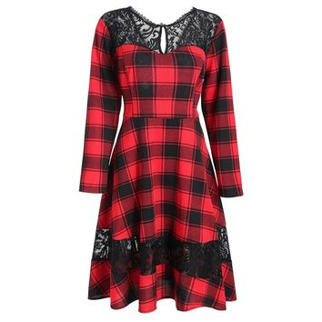 Dress Women Summer Chic A Line Plaid Rockabilly 1950s Elegant Party Lace Fashion Red Sweet Female Casual Retro Dresses