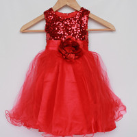 Girl red sequin dress with flower