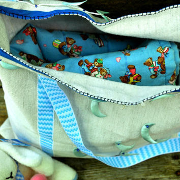 Diaper Bag - Upcycled Bag - Fabric Tote Bag - Market Tote - Baby Blue and White