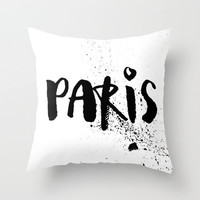 Black and White Pillow - Paris Pillow - Paris Decor - Modern Decorative Pillow - Velveteen Pillow Cover - Black and White Paris Cushion