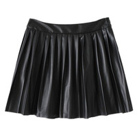 ROMWE | Romwe Pleated Faux Leather Black Skirt, The Latest Street Fashion