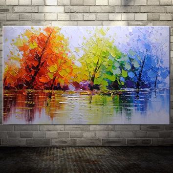 100% Handpainted Color Tree Knife Modern Oil Painting On Canvas Wall Decor