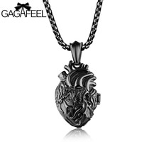 GAGAFFEL Heart Pendants Necklaces  Men Jewelry 316L Stainless Steel 3 Colors Anatomically Correct