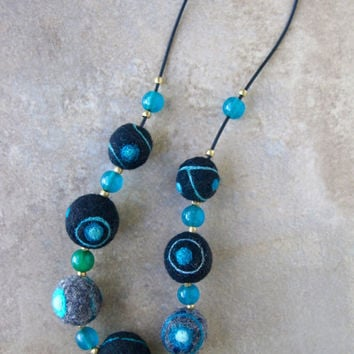 Black and Teal Felt Ball Necklace Felt Eye Beads w Vintage Teal Glass Trade Beads Colorful Funky Fiber Jewelry