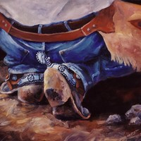 Cowboy Lawnchair  Western Buckaroo Art Painting by Kim Corpany - Cowboy Lawnchair  Western Buckaroo Art Fine Art Prints and Posters for Sale