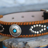 Custom Leather Dog Collar with Infinity Rivet Design Mohave Black Concho Deertan Lacing Southwest Boho Leather Dog Collar