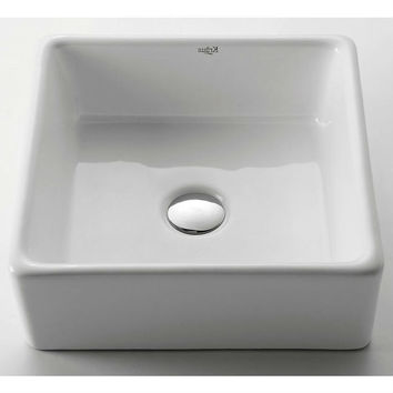 Modern Square White Ceramic Vessel Bathroom Sink with Brass Drain