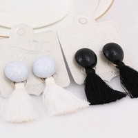 New Ethnic Jewelry Bohemian White And Black Tassel Earrings For Women Pendientes Female Fashion Earring