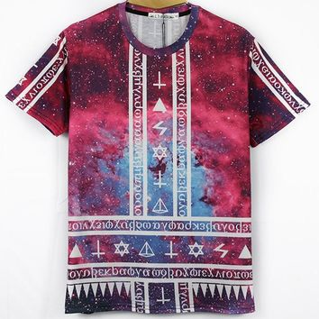Space Galaxy Hieroglyphic 3D Printed Tee