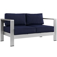 Silver Navy Shore Outdoor Patio Aluminum Loveseat