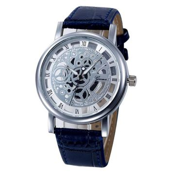 Mens Skeleton face see through watch roman numeral analog dress professional