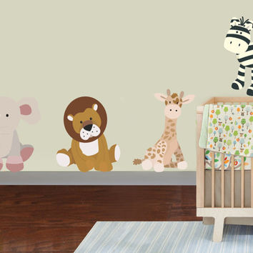 Safari Stuffed Toy Animal Vinyl Wall Decal Sticker Reusable Cute Kids Playroom Nursery