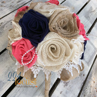 Weddng Bouquet, Coral and Navy Bridal Bouquet, Coral Fabric Bouquet, Wedding, Navy Fabric Bouquet, Rustic Wedding Bouquet Country Wedding