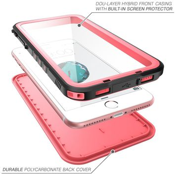 iPhone 8 Plus Case, NexCase Waterproof Full-body Rugged Case with Built-in Screen Protector for Apple iPhone 7 Plus 2016 / iPhone 8 Plus 2017 Release (Pink)