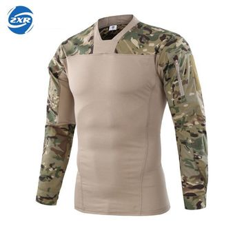 Man Hunting Finshing T-shirt V-neck Long Sleeve Combat Men Army Military Soldiers Force Camouflage Tactical Hunting T-shirt