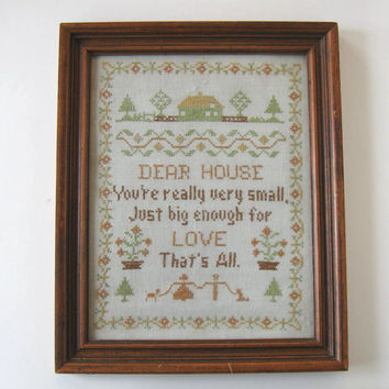 Vintage Cross Stitch Sampler, Home and Living, Mid Century Home,  Framed w Glass