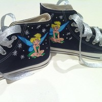 Painted Tinkerbell Decorating With Swarovski Crystals  On Black Converse Shoes