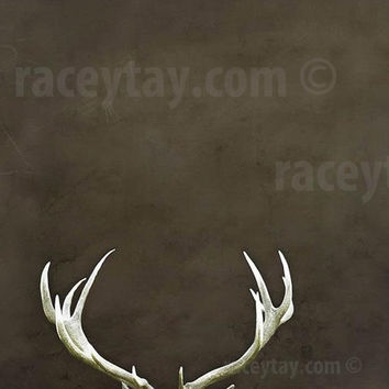 Antlers, Rustic Decor, Large Canvas Art, Brown, 16x20 Canvas, Mens Gift, Man Cave
