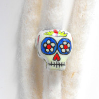 Dreadlock Bead 7mm Dread Bead Sugarskull Sugar Skull One of A Kind Hand Cast Hand Painted Resin Bead for Dreads