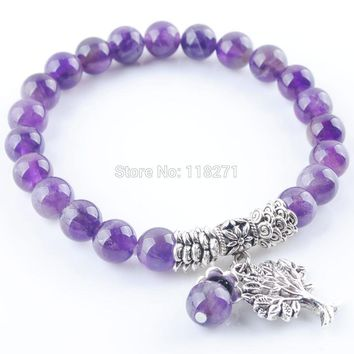 RONGZUAN Free Shipping Natural Amethysts Gem Stone Bracelet Mala Beads Tree Of Life Charms Meditation Ethnic Jewelry PK3213